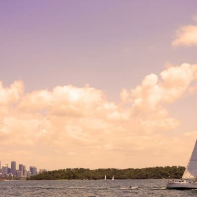 La baie à bord d'un voilier de l'America's Cup